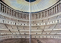 Artists depiction of the interior of the Colosseum, showing arena floor, seating, and covered roof, Rome Italy