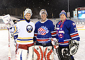 Goalies Martin Biron (43), Tom Askey (35), and Kenton Rein (31) pose for a photo after The Frozen Frontier Buffalo Sabres vs. Rochester Amerks Alumni Game at Frontier Field on December 15, 2013 in Rochester, New York.  (Copyright Mike Janes Photography)
