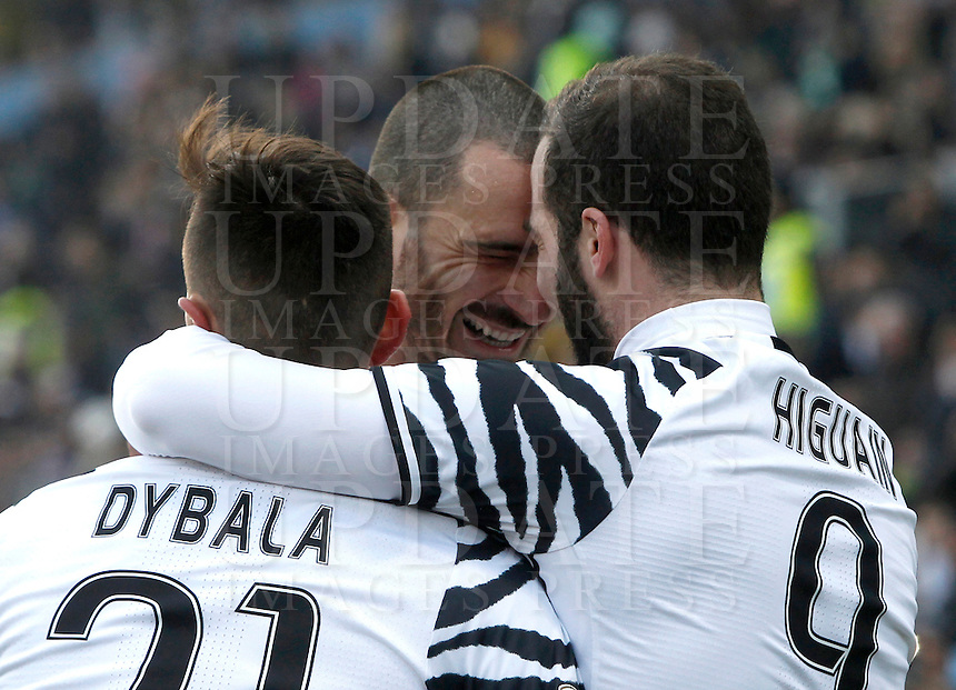 Calcio, Serie A: Sassuolo vs Juventus. Reggio Emilia, Mapei Stadium, 29 gennaio 2017. <br /> Juventus' Gonzalo Higuain, right, celebrates with teammates Paulo Dybala, left, and Leonardo Bonucci, after scoring during the Italian Serie A football match between Sassuolo and Juventus at Reggio Emilia's Mapei stadium, 29 January 2017.<br /> UPDATE IMAGES PRESS/Isabella Bonotto