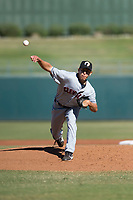 Glendale Desert Dogs starting pitcher Justin Garza (34), of the Cleveland Indians organization, delivers a pitch during an Arizona Fall League game against the Surprise Saguaros at Surprise Stadium on November 13, 2018 in Surprise, Arizona. Surprise defeated Glendale 9-2. (Zachary Lucy/Four Seam Images)