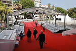 """Cannes Film Festival 2021. 74th edition of the 'Festival International du Film de Cannes' under Covid-19 outbreak on 12/07/2021 in Cannes, France. for the Guests for the screening of the film """"The French Dispatch"""" Photographers taking positions. .<br /> © Pierre Teyssot / Maxppp"""