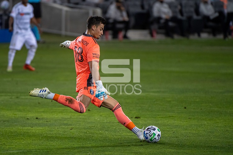 SAN JOSE, CA - NOVEMBER 04: A goal kick by JT Marcinkowski #18 of the San Jose Earthquakes during a game between Los Angeles FC and San Jose Earthquakes at Earthquakes Stadium on November 04, 2020 in San Jose, California.