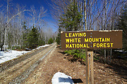 Leaving the White Mountain National Forest sign in Bethlehem, New Hampshire during the spring months.
