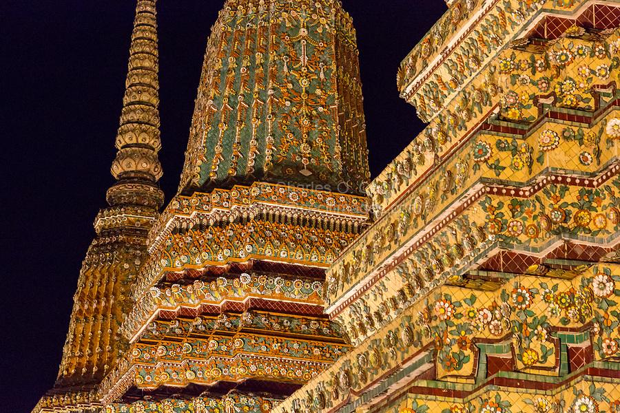 Bangkok, Thailand.  Phra Maha Chedis of Kings Rama III, I, and II, in the Wat Pho Compound of the Reclining Buddha.