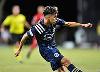 LAKE BUENA VISTA, FL - JULY 26: Jesús Medina of New York City FC takes a sho during a game between New York City FC and Toronto FC at ESPN Wide World of Sports on July 26, 2020 in Lake Buena Vista, Florida.