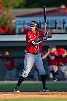 Tanner Krietemeier (27) of the Danville Braves at bat against the Burlington Royals at Burlington Athletic Park on July 5, 2014 in Burlington, North Carolina.  The Royals defeated the Braves 5-4.  (Brian Westerholt/Four Seam Images)
