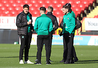Plymouth Argyle players inspecting the pitch before kick off during Charlton Athletic vs Plymouth Argyle, Emirates FA Cup Football at The Valley on 7th November 2020