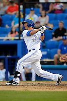 Dunedin Blue Jays first baseman Gabe Jacobo #8 during a game against the Clearwater Threshers at Florida Auto Exchange Stadium on April 4, 2013 in Dunedin, Florida.  Dunedin defeated Clearwater 4-2.  (Mike Janes/Four Seam Images)
