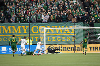PORTLAND, OR - MARCH 01: Luis Amarilla #9 of Minnesota United has his shot saved by Steve Clark #12 of the Portland Timbers during a game between Minnesota United FC and Portland Timbers at Providence Park on March 01, 2020 in Portland, Oregon.