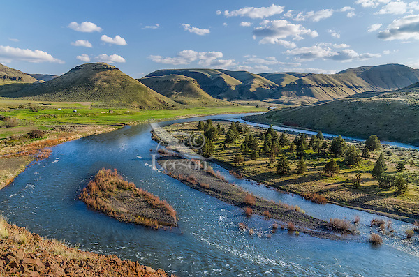 John Day River and 30 Mile Creek (entering from the left middle).  Rattray River Ranch, OR.  Evening. April.