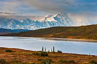 Autumn landscape of Mt. Denali and the tundra by Wonder Lake, Denali National Park, Alaska.