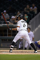 Jose Rondon (6) of the Charlotte Knights at bat against the Buffalo Bison at BB&T BallPark on August 14, 2018 in Charlotte, North Carolina. The Bison defeated the Knights 14-5.  (Brian Westerholt/Four Seam Images)