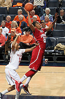 CHARLOTTESVILLE, VA- December 1: Sasha Chaplin #22 of the Indiana Hoosiers shoots the ball in front of Ataira Franklin #23 of the Virginia Cavaliers during the game on December 1, 2011 at the John Paul Jones Arena in Charlottesville, Virginia. Virginia defeated Indiana 65-49. (Photo by Andrew Shurtleff/Getty Images) *** Local Caption *** Sasha Chaplin;Ataira Franklin