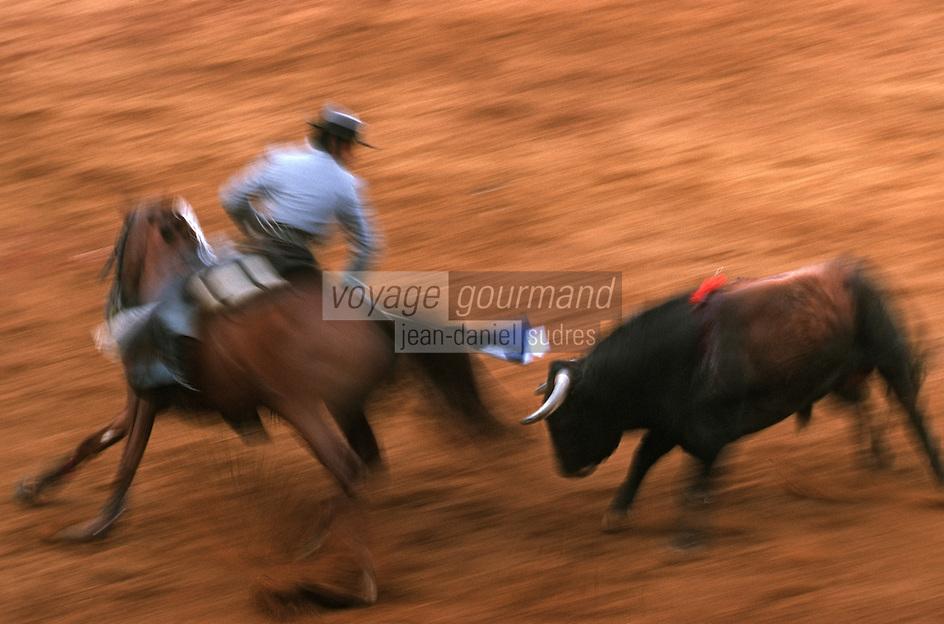 Europe/France/Aquitaine/64/Pyrénées-Atlantiques/Bayonne: Corrida à cheval dans les arènes lors des fêtes de Bayonne - Pose des banderilles à cheval