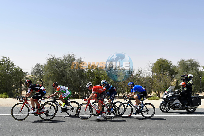 The breakaway group in action during Stage 1 of the 2018 Abu Dhabi Tour, Al Fahim Stage running 189km from Madinat Zayed to Adnoc School, Abu Dhabi, United Arab Emirates. 21st February 2018.<br /> Picture: LaPresse/Fabio Ferrari | Cyclefile<br /> <br /> <br /> All photos usage must carry mandatory copyright credit (© Cyclefile | LaPresse/Fabio Ferrari)