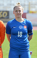 20180307 - LARNACA , CYPRUS :  Slovakian Dominika Skorvankova pictured during a women's soccer game between  Slovakia and the Czech Republic , on Wednesday 7 March 2018 at the GSZ Stadium in Larnaca , Cyprus . This is the final game in a decision for 9 th or 10 th place of the Cyprus Womens Cup , a prestigious women soccer tournament as a preparation on the World Cup 2019 qualification duels. PHOTO SPORTPIX.BE   DAVID CATRY