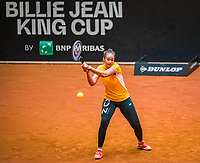 Den Bosch, The Netherlands, April 15, 2021,    Maaspoort, Billy Jean King Cup  Netherlands -  China : practice, Lesley Pattinama-Kerkhove (NED)<br /> Photo: Tennisimages/Henk Koster