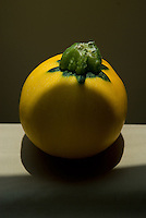 Round yellow squash in afternoon on on kitchen table