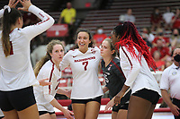 Arkansas Sophomore Taylor Head (7) celebrates point on Sunday, Oct. 10, 2021, during play at Barnhill Arena, Fayetteville. Visit nwaonline.com/211011Daily/ for today's photo gallery.<br /> (Special to the NWA Democrat-Gazette/David Beach)