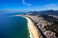 Panoramic aerial view of famous Copacabana Beach under a blue sky with Two Brothers Mountain and Ipanema in the background, in Rio de Janeiro, Brazil
