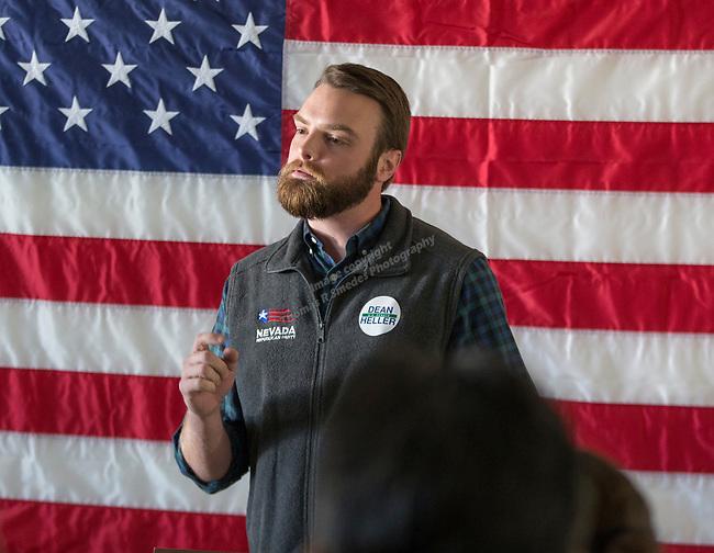 Senator Dean Heller's campaign manager Mac Abramsmeet talks with Heller campaign volunteers at the RNC field office in Reno, Thursday, Nov. 1, 2018.