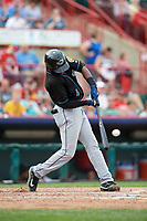 Akron RubberDucks center fielder Greg Allen (4) hits a double during a game against the Erie SeaWolves on August 27, 2017 at UPMC Park in Erie, Pennsylvania.  Akron defeated Erie 6-4.  (Mike Janes/Four Seam Images)