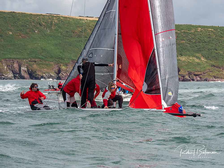 Robert O'Leary's Dutch Gold crewfrom Baltimore Sailing Club are now pre-event favourites for the 1720 European crown at Dunmore East in September