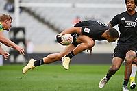 22nd May 2021; Eden Park, Auckland New Zealand; All Blacks Sevens versus Australia, Trans-Tasman Sevens;  William Warbrick dives over the goal line