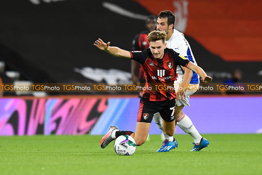 David Brooks of Bournemouth is fouled by Luka Milivojevic of Crystal Palace during AFC Bournemouth vs Crystal Palace, Carabao Cup Football at the Vitality Stadium on 15th September 2020