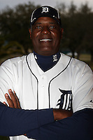 February 27, 2010:  Coach Ray Burris of the Detroit Tigers poses for a photo during media day at Joker Marchant Stadium in Lakeland, FL.  Photo By Mike Janes/Four Seam Images