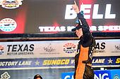 NASCAR Camping World Truck Series<br /> winstaronlinegaming.com 400<br /> Texas Motor Speedway, Ft. Worth, TX USA<br /> Friday 9 June 2017<br /> Christopher Bell, JBL Toyota Tundra, celebrates in Victory Lane.<br /> World Copyright: John K Harrelson<br /> LAT Images<br /> ref: Digital Image 17TEX2jh_02449