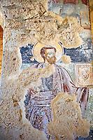 Byzantine fresco of the church of  Saint Nicolas.   Mystras ,  Sparta, the Peloponnese, Greece. A UNESCO World Heritage Site