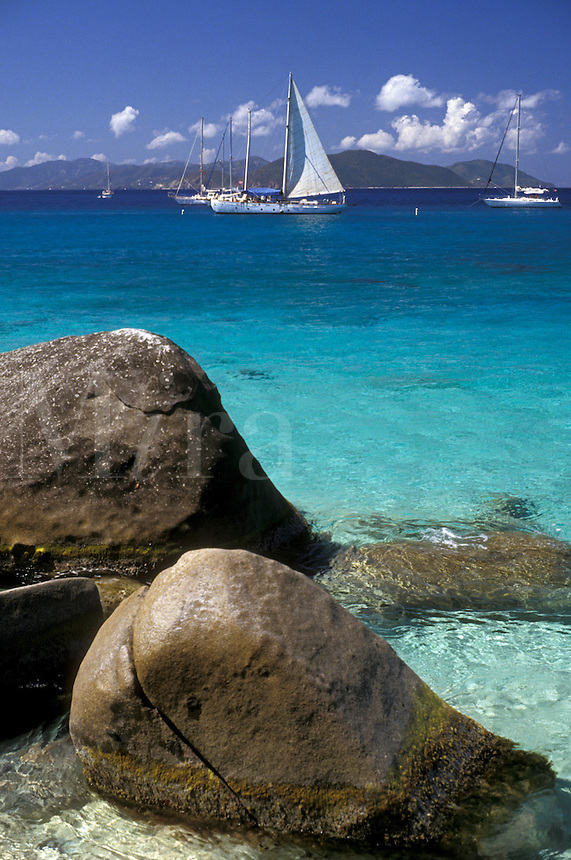 AJ2389, British Virgin Islands, Virgin Gorda, Caribbean, beach, Virgin Islands, BVI, B.V.I., Scenic view of sailboats on Spring Bay on the island of Virgin Gorda on the British Virgin Islands.