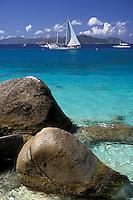 AJ2389, British Virgin Islands, Virgin Gorda, Caribbean, beach, Virgin Islands, BVI, B.V.I., Scenic view of sailboats on Spring Bay on the island of Virgin Gorda on the British Virgin Islands.