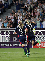 Football, Uefa Women's Champions League Final, VfL Wolfsburg - Olympique Lyonnais, Valeriy Lobanovskyi Stadium in Kiev on May 24, 2018.<br /> Olympique Lyonnais' Ada Hegerberg (r) celebrates after scoring  with her teammate Eugénie Le Sommer (l) during the Uefa Women's Champions League Final between  VfL Wolfsburg and Olympique Lyonnais, at the Valeriy Lobanovskyi Stadium in Kiev, on May 24, 2018.<br /> UPDATE IMAGES PRESS/Isabella Bonotto