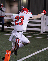 Fort Smith Northside Grizzlies Junior Joseph Maffei (23) catches a touchdown pass during the first round play-off game against the Har-Ber Wildcats Friday, November 13, 2020, at Wildcat Stadium, Springdale, Arkansas (Special to NWA Democrat-Gazette/Brent Soule)