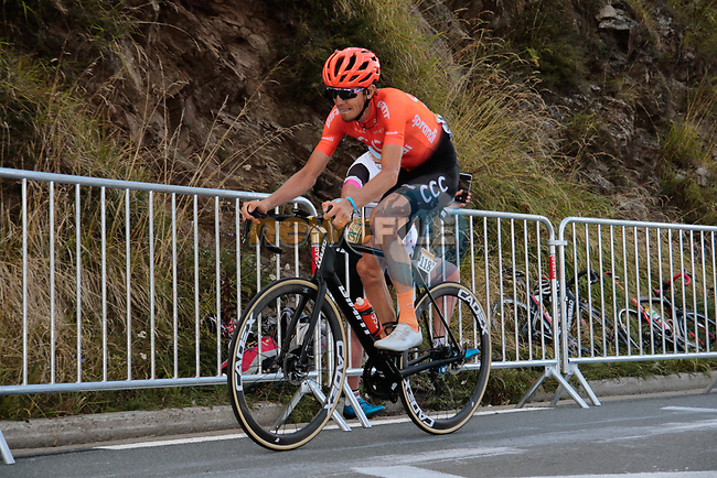 Ilnur Zakarin (RUS) CCC Team from the breakaway climbs the Col de Peyresourde in 2nd position during Stage 8 of Tour de France 2020, running 141km from Cazeres-sur-Garonne to Loudenvielle, France. 5th September 2020. <br /> Picture: Colin Flockton | Cyclefile<br /> All photos usage must carry mandatory copyright credit (© Cyclefile | Colin Flockton)