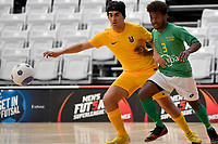 Melvin Rumere of Central and Sam Ali of Southern during the Men's Futsal SuperLeague, Central Futsal v Southern United Futsal at ASB Sports Centre, Wellington on Saturday 31 October 2020.<br /> Copyright photo: Masanori Udagawa /  www.photosp ort.nz