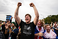 Moscow, Russia, 14/06/2018.<br /> A Russian supporter wearing a Russian Hooligans t-shirt cheers the first Russian goal during the opening match between Russia and Saudi Arabia in the 2018 FIFA World Cup.