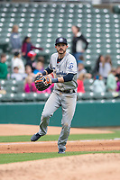 Columbus Clippers third baseman Eric Stamets (7) during an International League game against the Indianapolis Indians on April 30, 2019 at Victory Field in Indianapolis, Indiana. Columbus defeated Indianapolis 7-6. (Zachary Lucy/Four Seam Images)
