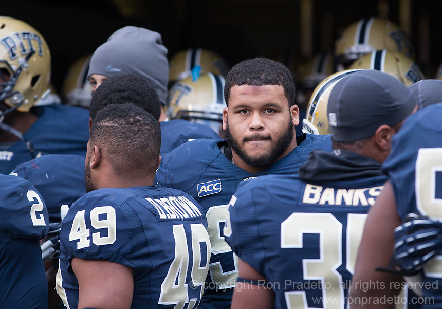 Pitt defensive lineman Aaron Donald (facing camera) waits to be introduced on senior day. The Miami Hurricanes defeated the Pitt Panthers 41-31 at Heinz Field, Pittsburgh, Pennsylvania on November 29, 2013.