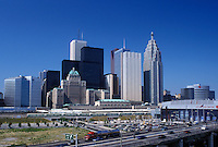 Toronto, Canada, Ontario, Skyline of downtown Toronto along the expressway.