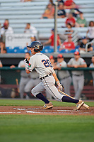 Connecticut Tigers shortstop Cole Peterson (20) bats during a game against the Auburn Doubledays on August 10, 2017 at Falcon Park in Auburn, New York.  Connecticut defeated Auburn 4-1.  (Mike Janes/Four Seam Images)