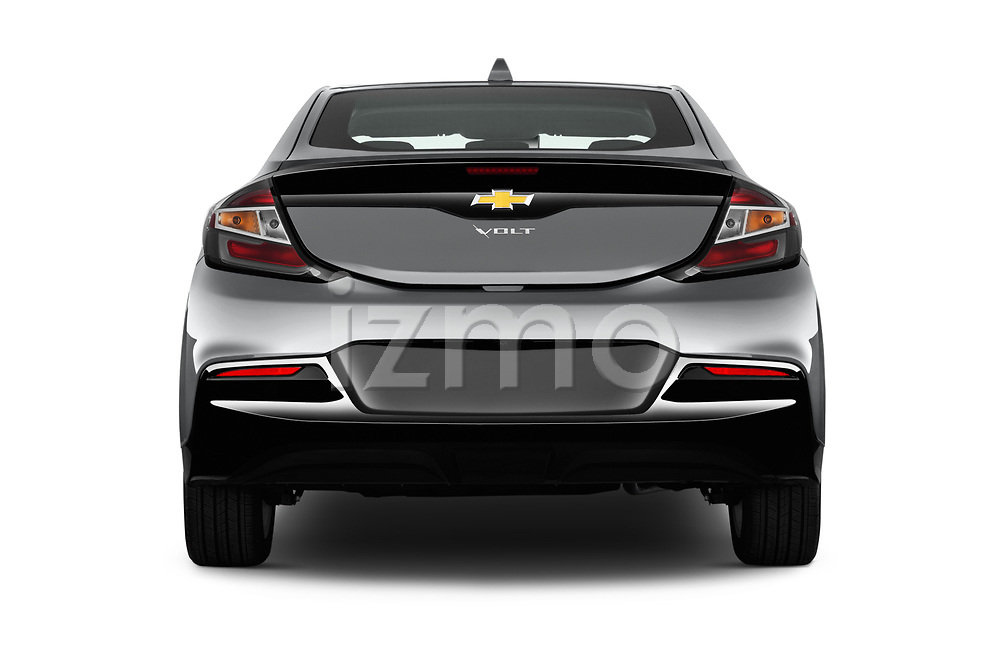 Straight rear view of 2018 Chevrolet Volt LT 5 Door Hatchback Rear View  stock images