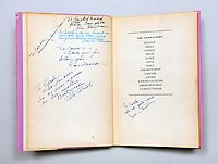 "BNPS.co.uk (01202) 558833. <br /> Pic: PeterHarrington/BNPS<br /> <br /> Pictured: Messages from Brando's fellow cast members written in the book. <br /> <br /> A rare first edition book which is inscribed by Hollywood legend Marlon Brando has emerged for sale for £15,000.<br /> <br /> The Godfather actor wrote a personal message on the title page of the copy of Tennessee Williams' 'A Streetcar Named Desire' in 1947. He was starring in the play on Broadway at the time.<br /> <br /> Brando, who was still relatively unknown, penned some sweet words to 'Carol', the daughter of fellow cast member Peg Hillias.<br /> <br /> It was given to her as a 16th birthday present and Brando wrote: ""To Carol, with warm affection, Marlon Brando.""<br /> <br /> The book, which was signed by the majority of the cast, is now being sold by London-based book dealer Peter Harrington."