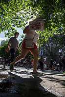NEW YORK, NEW YORK - June 7: Protesters march alongside Central Park during a protest in Upper Manhattan on June 7, 2020 in New York, NY. Protesters continue to take to the streets across the United States and other parts of the world after the murder of George Floyd by a white police officer Derek Chauvin. The protests attempt to give voice to the need for African American human rights. (Photo by Pablo Monsalve / VIEWpress )