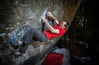 Dave Macleod on the New Base Line 8b+, Magic Wood, Switzerland
