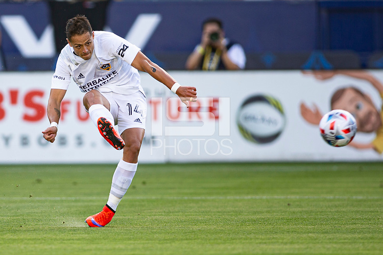 CARSON, CA - MAY 8: Javier Hernandez #14 of the Los Angeles Galaxy takes a shot during a game between Los Angeles FC and Los Angeles Galaxy at Dignity Health Sports Park on May 8, 2021 in Carson, California.