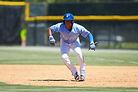 Rafael Romero (8) of the Burlington Royals takes his lead off of first base against the Greeneville Reds at Burlington Athletic Stadium on July 8, 2018 in Burlington, North Carolina. The Royals defeated the Reds 4-2.  (Brian Westerholt/Four Seam Images)