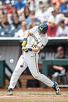 Michigan Wolverines first baseman Jimmy Kerr (15) swings the bat during Game 11 of the NCAA College World Series against the Texas Tech Red Raiders on June 21, 2019 at TD Ameritrade Park in Omaha, Nebraska. Michigan defeated Texas Tech 15-3 and is headed to the CWS Finals. (Andrew Woolley/Four Seam Images)